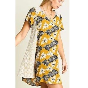 Umgee Yellow Floral Babydoll Style Tunic